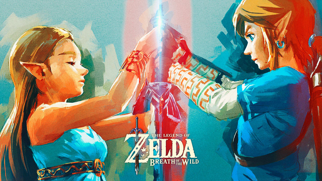 The Legend of Zelda BOTW Link et Zelda en miroir